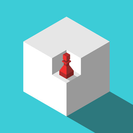 Red isometric chess pawn in niche of white cube on turquoise blue background. Market, opportunity and mission concept. Flat design. Vector illustration, no transparency, no gradients