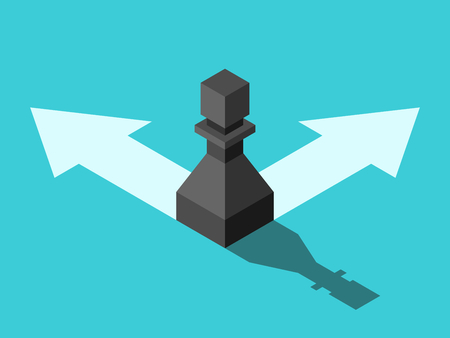 Isometric black chess pawn standing on arrows and choosing direction on turquoise blue. Opportunity, decision, doubt and choice concept. Flat design. Vector illustration, no transparency, no gradients
