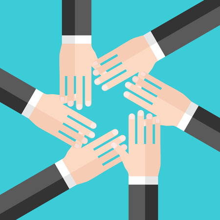 Hands of six businessmen stacked in circle, top view. Team, teamwork, collaboration, community and togetherness concept. Flat design. Vector illustration, no transparency, no gradients Vector Illustratie