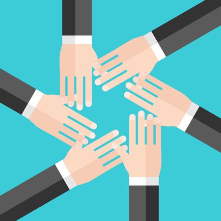 Mains de six hommes d'affaires empilées en cercle, vue de dessus. Concept d'équipe, de travail d'équipe, de collaboration, de communauté et de convivialité. Conception plate. Illustration vectorielle, pas de transparence, pas de dégradés Vecteurs