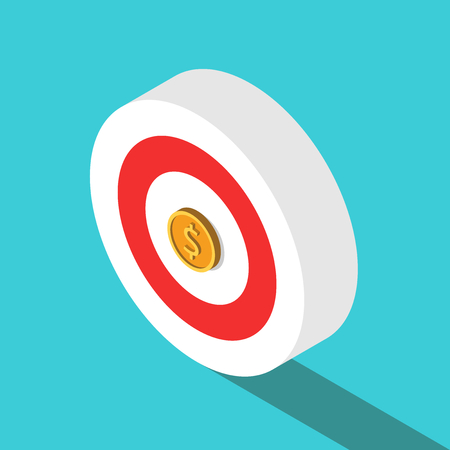 Isometric target with gold dollar coin in centre instead of bulls eye on turquoise blue. Goal, money, wealth and profit concept. Flat design. Vector illustration, no transparency, no gradients