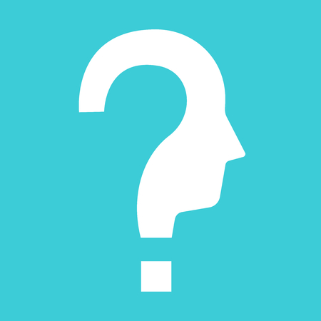 Question mark shaped white head silhouette on turquoise blue background. Confusion, problem, education and decision concept. Flat design. Vector illustration, no transparency, no gradients