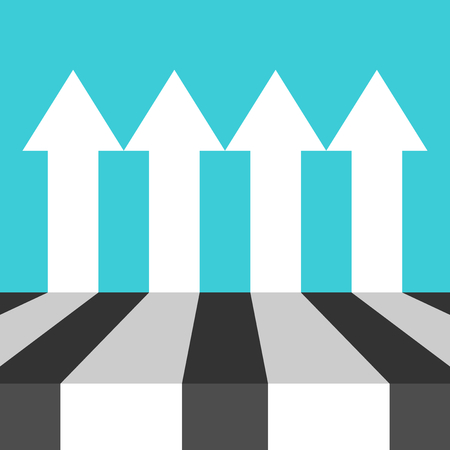 Many equal parallel white arrows on turquouise blue. Perspective view. Equality, independency, competition and teamwork concept. Flat design. Vector illustration, no transparency, no gradients