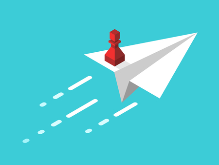 Isometric red chess pawn standing on white paper airplane flying on turquoise blue. Leadership, start up, freedom and courage concept. Flat design. Vector illustration, no transparency, no gradients