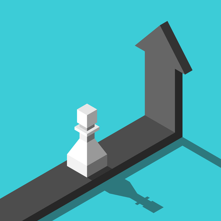 White isometric chess pawn standing on horizontal arrow going vertical. Stagnation, growth, crisis, deadlock and turning point concept. Flat design. Vector illustration, no transparency, no gradients Ilustração