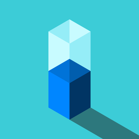 Isometric half empty or full glass of water on turquoise blue. Motivation, optimism, pessimism, positive and negative thinking concept. Flat design. Vector illustration, no transparency, no gradients Vectores