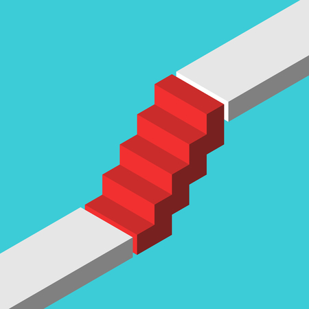 Isometric red steps bridging gap between two levels on turquoise blue. Abrupt career ladder, sudden rise, growth and challenge concept. Flat design. Vector illustration, no transparency, no gradients