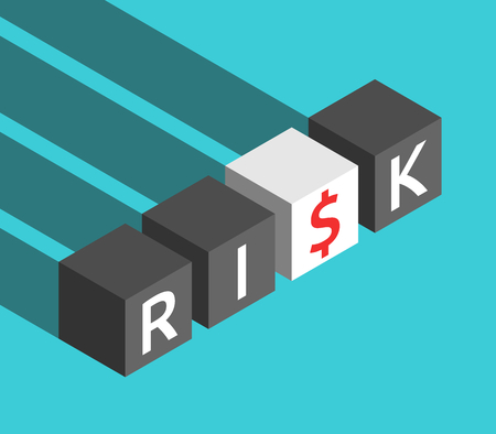 Isometric black and white cubes, risk word with red dollar sign instead of letter S. Analysis, management and gain concept. Flat design. Vector illustration, no transparency, no gradients
