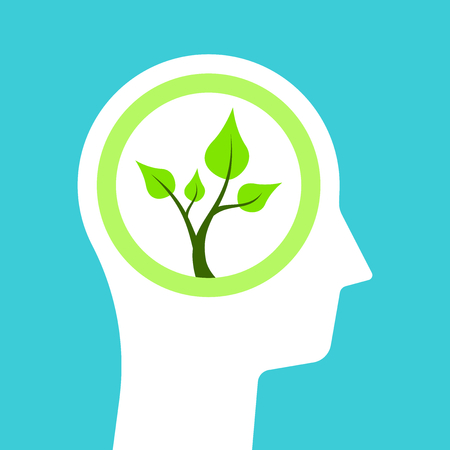 White head silhouette and green plant with bright young twigs and leaves inside it. Ecology, environment, nature and youth concept. Flat design. Vector illustration, no transparency, no gradients Ilustração