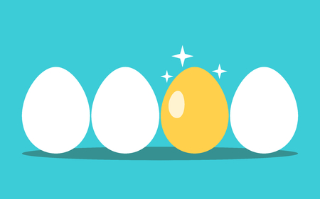 Unique gold egg in row of white ones on turquoise blue background. Opportunity, profit, investment, luck and success concept. Flat design. Vector illustration, no transparency, no gradients
