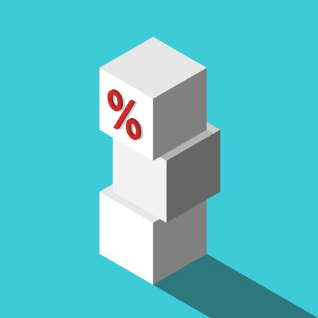White isometric cube with percent sign on top of stack on turquoise blue. Investment,  wealth, loan and compound interest concept. Flat design. Vector illustration, no transparency, no gradients