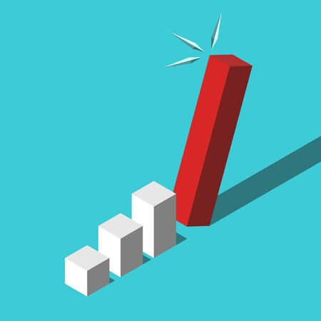 Isometric too high red bar falling on turquoise blue background. Growth, financial crisis, mistake, investment and fraud concept. Flat design. Vector illustration, no transparency, no gradients