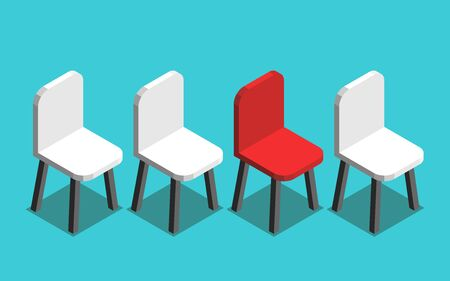 Isometric red unique vacant chair in row of many white ones on turquoise blue. Job, recruitment, hiring, vacancy and career concept. Flat design. Vector illustration, no transparency, no gradients