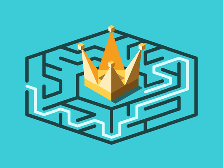Isometric maze with solution and gold crown in centre of it, on turquoise blue. Solution, problem, wealth, success and treasure concept. Flat design. Vector illustration, no transparency, no gradients Ilustrace