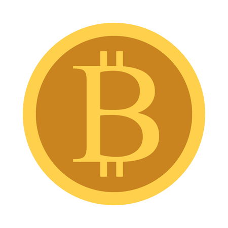 Gold bitcoin coin isolated on white background. Technology, cryptocurrency, finance and investment concept. Flat design. Vector illustration, no transparency, no gradients