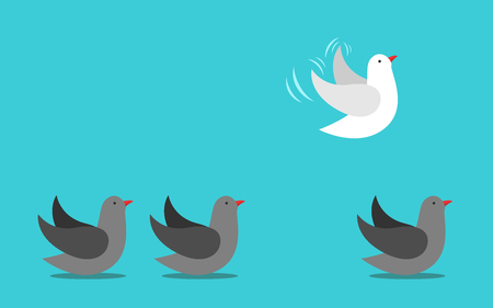 Unique different white bird flying away into sky from gray ones on ground. Courage, individuality, independence and will power concept. Flat design. Vector illustration, no transparency, no gradients