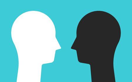 Weiße und schwarze gegenüberliegende Kopfsilhouetten, die sich ansehen. Psychologie, psychische Gesundheit, Konflikte und Gegensätze. Flaches Design. Vektorillustration, keine Transparenz, keine Farbverläufe Vektorgrafik