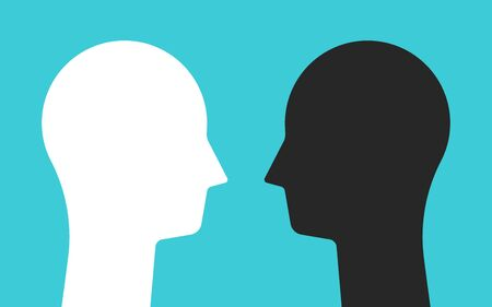 White and black opposite head silhouettes looking at each other. Psychology, mental health, conflict and opposites concept. Flat design. Vector illustration, no transparency, no gradients Vectores