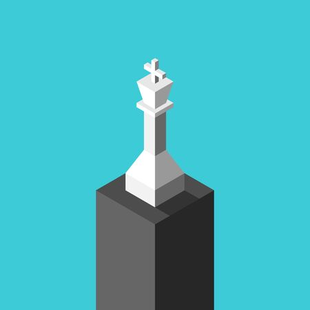 Isometric white chess king on high black pedestal on turquoise blue. Victory, ambition, achievement, pride and loneliness concept. Flat design. EPS 8 vector illustration, no transparency, no gradients