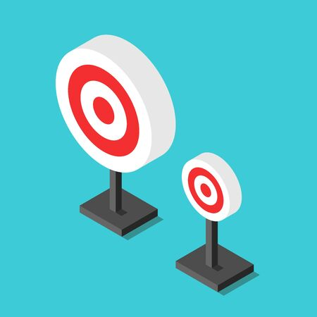 Two isometric targets, big and small, on turquoise blue background. Opportunity, marketing, achievement, ambition and choice concept. Flat design. Vector illustration, no transparency, no gradients