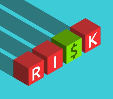 Isometric red and green cubes with risk word and dollar sign instead of letter S. Danger, luck and management concept. Flat design. Vector illustration, no transparency, no gradients