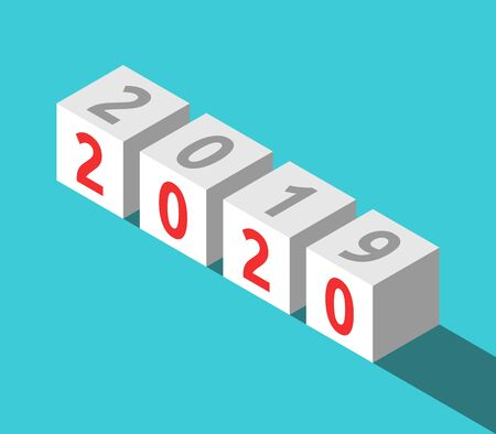 Isometric cubes with 2019 and 2020 text on turquoise blue. New Year, time, future, expectation, forecast, results and analysis concept. Flat design. Vector illustration, no transparency, no gradients