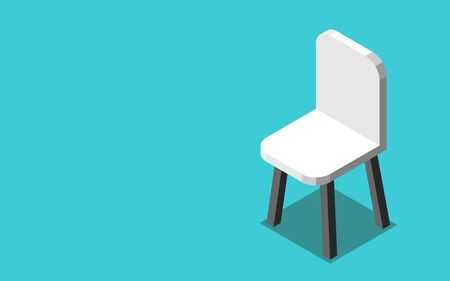 One  isometric modern white chair on turquoise blue background. Job, hiring, vacancy, employment and career concept. Flat design. Vector illustration, no transparency, no gradients