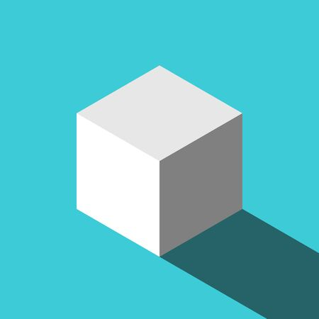 One isometric white cube with long shadow on turquoise blue. Education, geometry, simplicity and base minimal abstract concept. Flat design. Vector illustration, no transparency, no gradients Ilustração