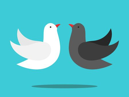White and black doves couple flying. Love, opposites, peace, difference, contrast, relationship, compromise and harmony concept. Flat design. Vector illustration, no transparency, no gradients