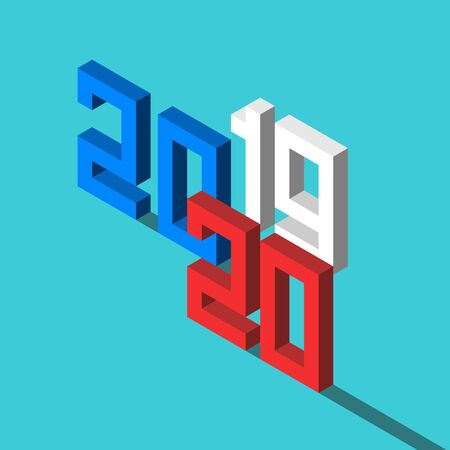 Isometric 2019 text changing to 2020 on turquoise blue. New Year, time, future, expectation, forecast, results and analysis concept. Flat design. Vector illustration, no transparency, no gradients