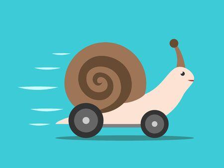 Eine schnelle Schnecke mit Autorädern, die sich auf türkisblauem Hintergrund bewegen. Eile, Geschwindigkeit, Effizienz, Leistung und Kreativität Konzept. Flaches Design. Vektorillustration, keine Transparenz, keine Farbverläufe