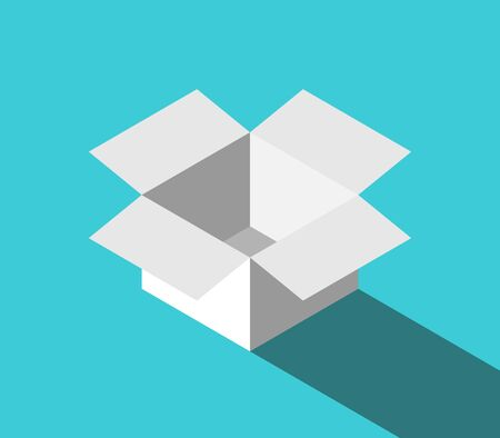 Isometric white open box on turquoise blue background. Package, delivery, surprise, creativity and thinking outside the box concept. Flat design. Vector illustration, no transparency, no gradients Illustration