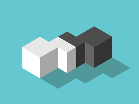 White and black isometric cubes and mediator in between. Mediation, diplomacy, merger, management, flexibility and EQ concept. Flat design. Vector illustration, no transparency, no gradients Illustration