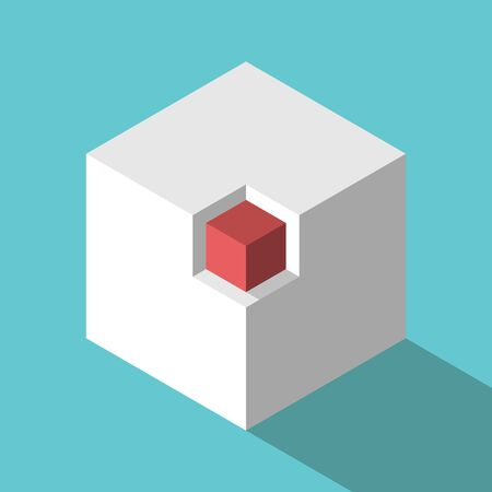 Isometric red cube in niche on turquoise blue background. Marketing, competition, uniqueness and opportunity concept. Flat design. EPS 8 vector illustration, no transparency, no gradients