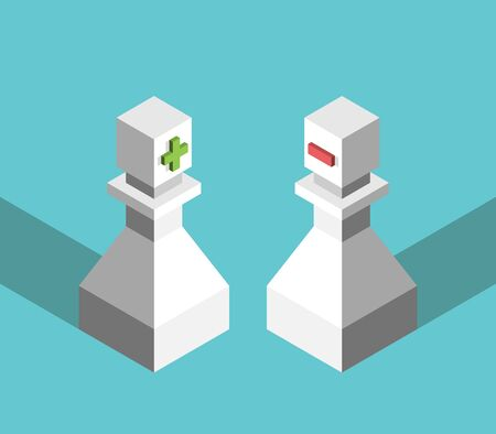 Two isometric positive, negative chess pawns, plus, minus signs. Opposites, scarcity and abundance mentality, thinking, communication concept. EPS 8 vector illustration, no transparency, no gradients