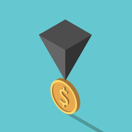 Isometric black pyramid on gold dolalr coin. Financial crisis, risk, instability, unstable economy and investment concept. Flat design. EPS 8 vector illustration, no transparency, no gradients