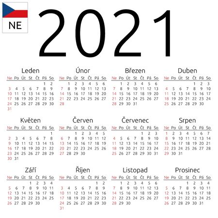 Simple annual 2021 year wall calendar. Czech language. Week starts on Sunday. Sunday highlighted. No holidays highlighted. EPS 8 vector illustration, no transparency, no gradients