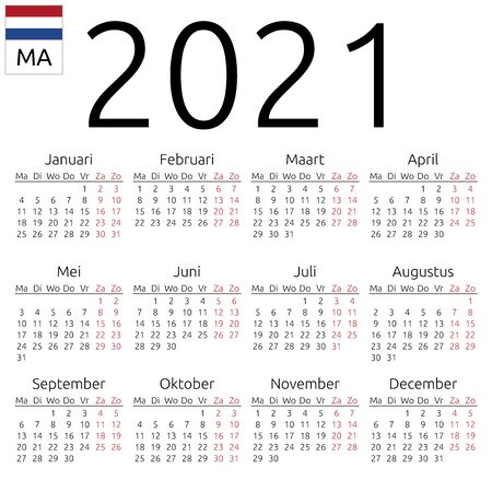 Simple annual 2021 year wall calendar. Dutch language. Week starts on Monday. Highlighted Saturday and Sunday, no holidays. EPS 8 vector illustration, no transparency, no gradients
