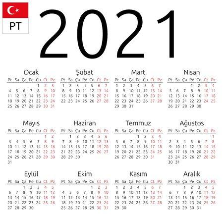 Calendario da parete semplice annuale 2021 anni. Lingua turca. La settimana inizia il lunedì. Sabato e domenica in evidenza. Nessuna festività evidenziata. Illustrazione vettoriale EPS 8, nessuna trasparenza, nessuna sfumatura Vettoriali
