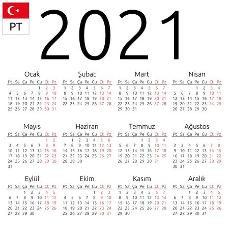 Simple annual 2021 year wall calendar. Turkish language. Week starts on Monday. Saturday and Sunday highlighted. No holidays highlighted. EPS 8 vector illustration, no transparency, no gradients Vetores