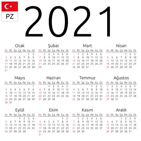 Simple annual 2021 year wall calendar. Turkish language. Week starts on Sunday. Sunday highlighted. No holidays highlighted. EPS 8 vector illustration, no transparency, no gradients Illustration