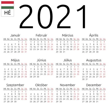 Simple annual 2021 year wall calendar. Hungarian language. Week starts on Monday. Saturday and Sunday highlighted. No holidays highlighted. EPS 8 vector illustration, no transparency, no gradients
