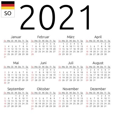 Simple annual 2021 year wall calendar. German language. Week starts on Sunday. Sunday highlighted. No holidays highlighted. EPS 8 vector illustration, no transparency, no gradients