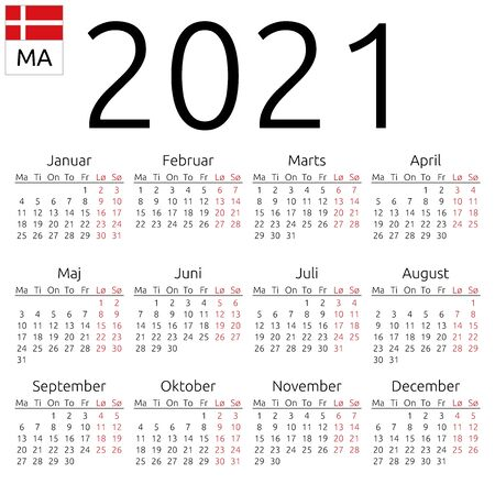 Simple annual 2021 year wall calendar. Danish language. Week starts on Monday. Saturday and Sunday highlighted. No holidays highlighted. EPS 8 vector illustration, no transparency, no gradients  イラスト・ベクター素材