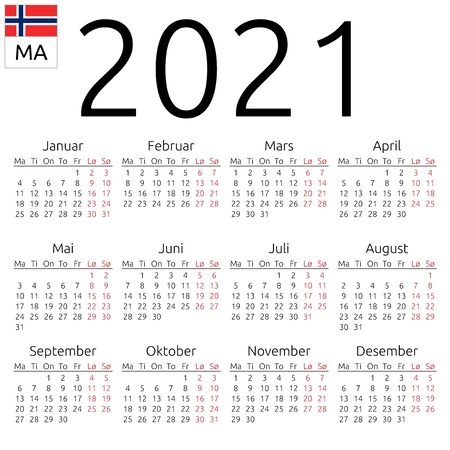 Simple annual 2021 year wall calendar. Norwegian language. Week starts on Monday. Highlighted Saturday and Sunday, no holidays. EPS 8 vector illustration, no transparency, no gradients