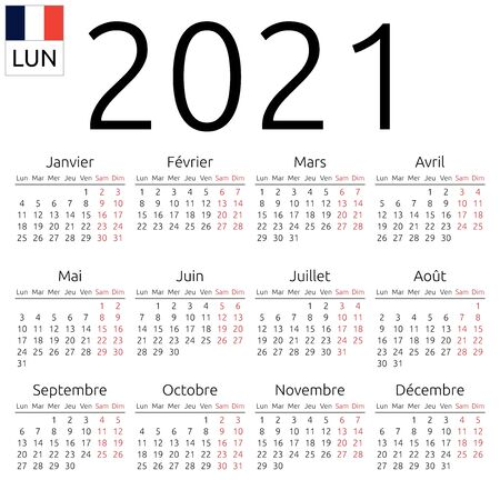 Simple annual 2021 year wall calendar. French language. Week starts on Monday. Saturday and Sunday highlighted. No holidays highlighted. EPS 8 vector illustration, no transparency, no gradients Illusztráció