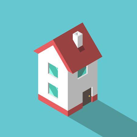 Piccola casa isometrica a due piani con camino, pareti bianche e tetto rosso su blu turchese. Casa, immobiliare e concetto di costruzione. Design piatto. Illustrazione vettoriale, nessuna trasparenza, nessun gradiente