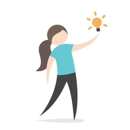 Schöner Frauencharakter mit hell leuchtender Glühbirne. Idee, Einsicht, Aha-Moment, Innovation, Inspiration und Lösungskonzept. Flaches Design. EPS 8-Vektor-Illustration, keine Transparenz, keine Farbverläufe