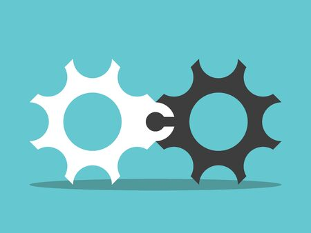 Two different white, black cog wheels connected with jigsaw puzzle lock. Partnership, cooperation, problem, teamwork, merger concept. Flat design. Vector illustration, no transparency, no gradients