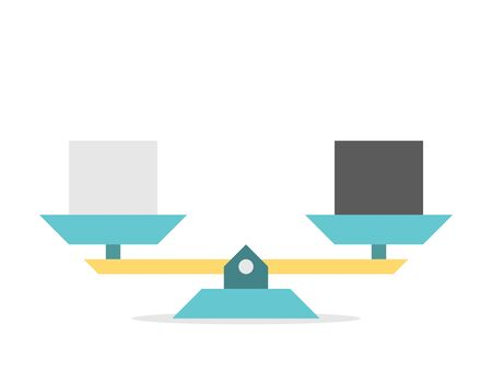 Vintage seesaw weight scales weighing black, white or gray cubes or squares. Balance, comparison, equilibrium, trade, exchange concept. Flat design. Vector illustration, no transparency, no gradients  イラスト・ベクター素材